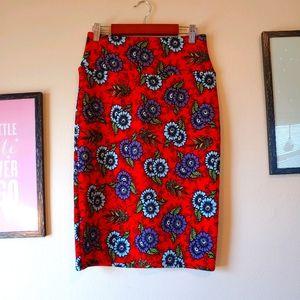 Lularoe Cassie retro boho bodycon pencil skirt red